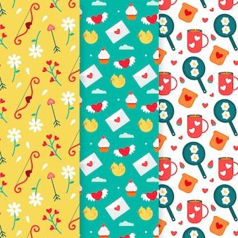 Collezione di pattern di san valentino disegnati a mano
