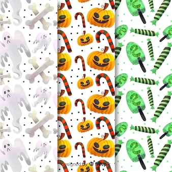 Collezione di pattern di zucchero dolci di halloween