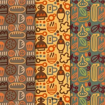 Collezione di pattern disegnati a mano design da forno