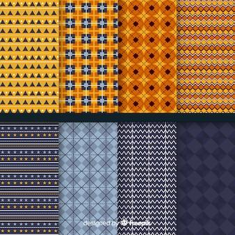 Collezione di pattern geometrici piatti di halloween