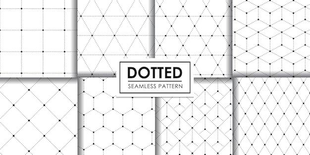 Collezione di pattern geometrici punteggiati senza soluzione di continuità, carta da parati decorativa.
