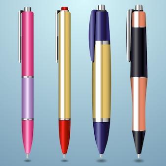 Collezione di penne realistiche colorate