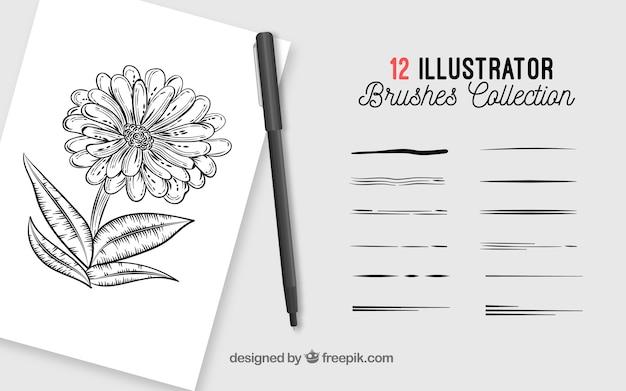 Collezione di pennelli per illustrazione