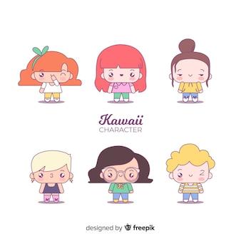 Collezione di personaggi adorabili disegnati a mano