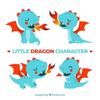 Collezione di personaggi baby dragon con design piatto