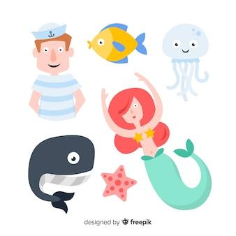 Collezione di personaggi colorati di vita marina