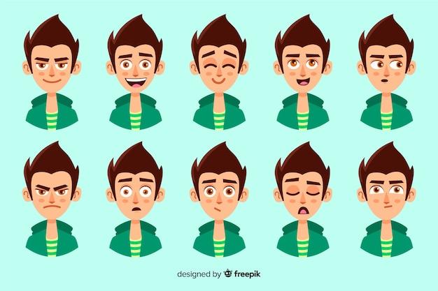 Collezione di personaggi con diverse espressioni facciali