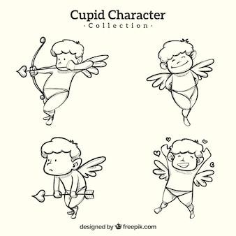 Collezione di personaggi cupidi disegnata a mano