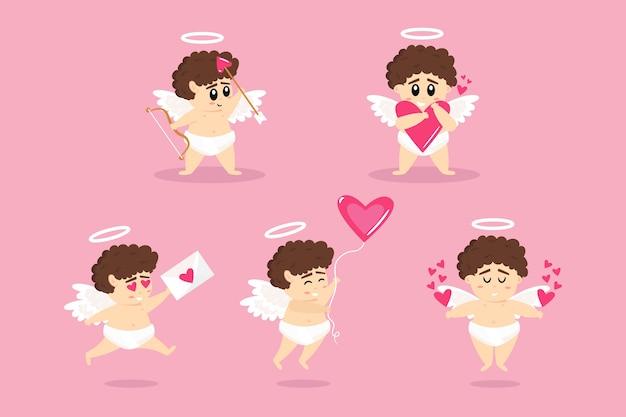 Collezione di personaggi cupido per san valentino
