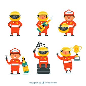 Collezione di personaggi da corsa di formula 1 con design piatto