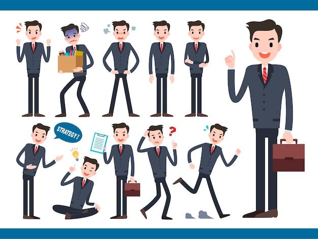 Collezione di personaggi da uomo d'affari, adorabile impiegato in diverse azioni ed espressione facciale