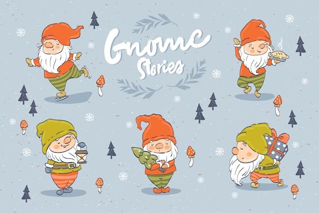Collezione di personaggi dei cartoni animati carino gnomi. elemento di design di natale