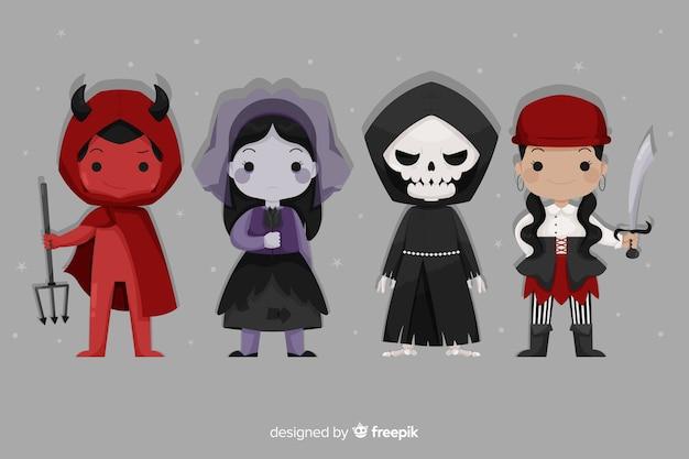 Collezione di personaggi dei cartoni animati di halloween piatta