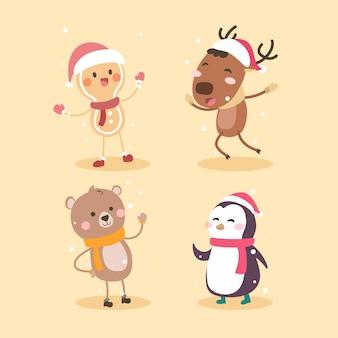 Collezione di personaggi dei cartoni animati di natale