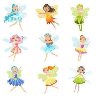 Collezione di personaggi dei cartoni animati girly in abiti graziosi