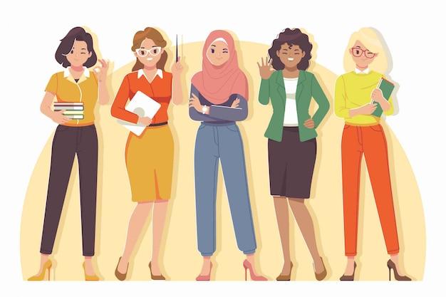Collezione di personaggi dei cartoni animati insegnante femminile
