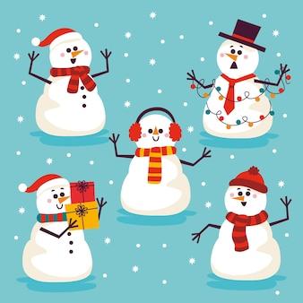 Collezione di personaggi dei cartoni animati pupazzo di neve