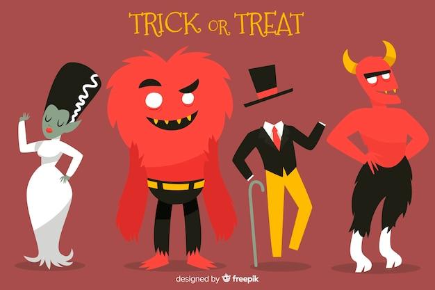 Collezione di personaggi dei film di halloween disegnati a mano