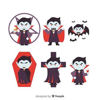 Collezione di personaggi dei vampiri animati piatti