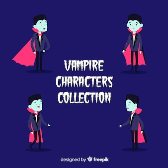 Collezione di personaggi dei vampiri lettering con dracula