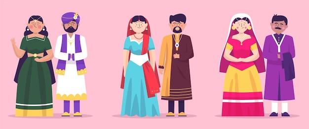 Collezione di personaggi del matrimonio indiano