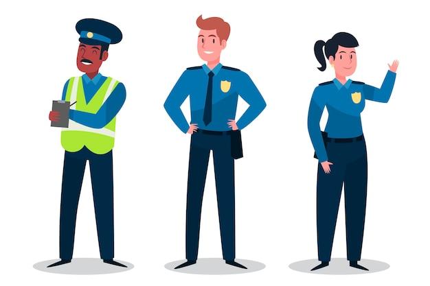 Collezione di personaggi della polizia