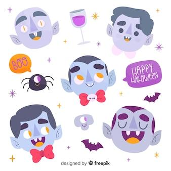 Collezione di personaggi della testa di vampiro disegnati a mano