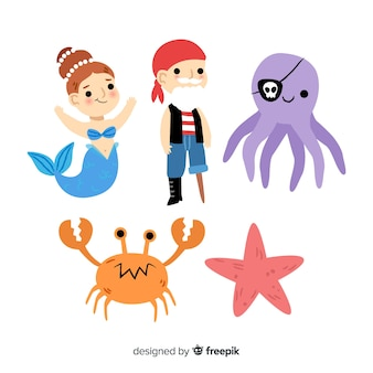 Collezione di personaggi della vita marina
