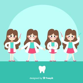 Collezione di personaggi dentista