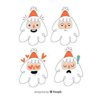 Collezione di personaggi di babbo natale disegnati a mano