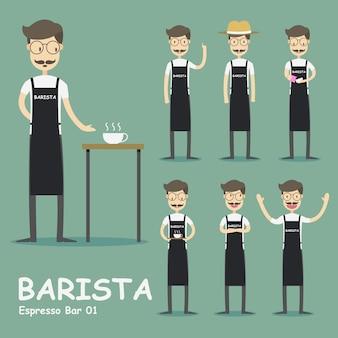 Collezione di personaggi di barista