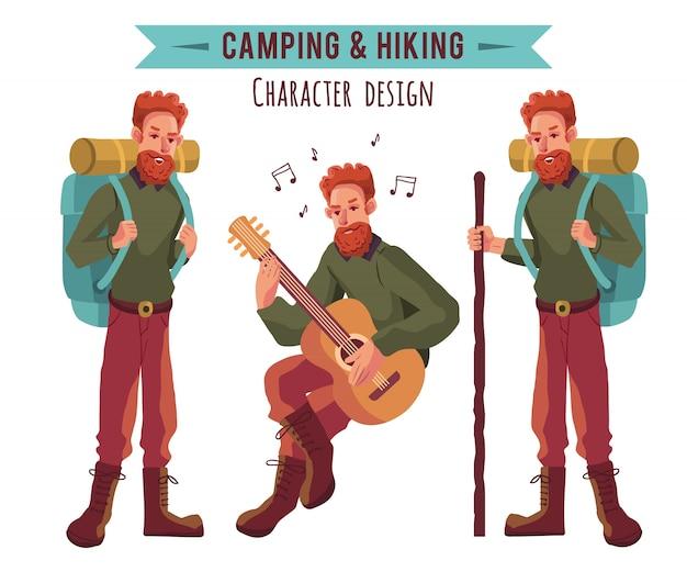 Collezione di personaggi di campeggio