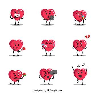 Collezione di personaggi di cuore
