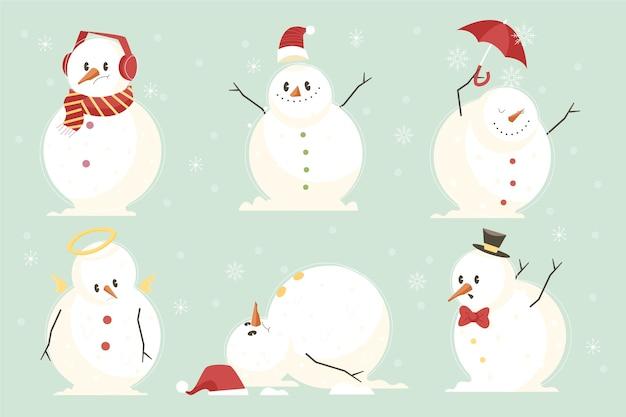 Collezione di personaggi di design piatto pupazzo di neve