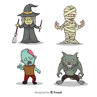 Collezione di personaggi di halloween disegnata a mano raccapricciante
