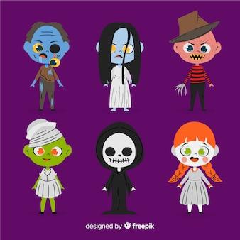 Collezione di personaggi di halloween disegnati a mano