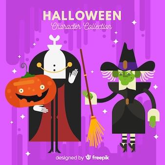 Collezione di personaggi di halloween hipster in design piatto