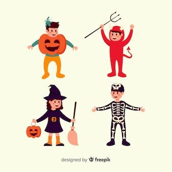 Collezione di personaggi di halloween piatto carino costumi