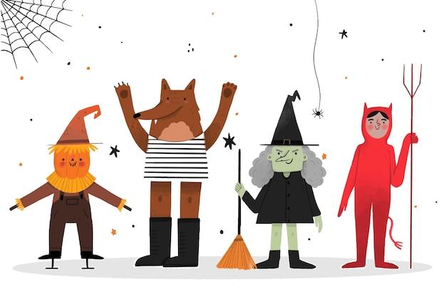 Collezione di personaggi di halloween stile disegnato a mano