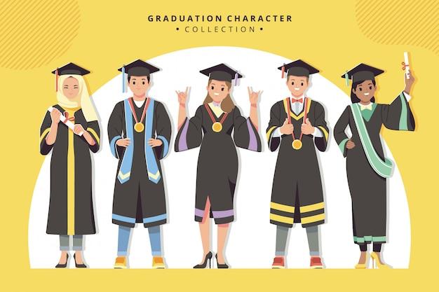 Collezione di personaggi di laurea felice