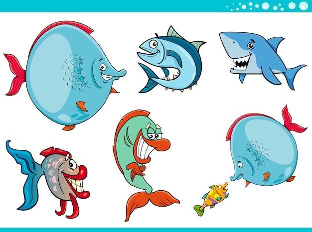 Collezione di personaggi di pesci vita marina