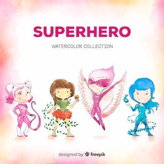 Collezione di personaggi di supereroi femminili disegnati a mano