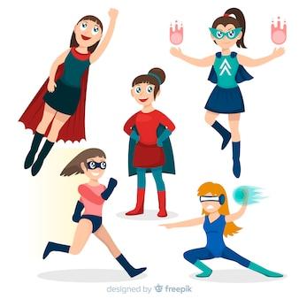 Collezione di personaggi di supereroi femminili in stile cartoon