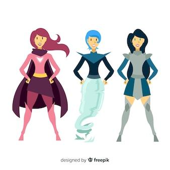 Collezione di personaggi di supereroi femminili in stile fumetto