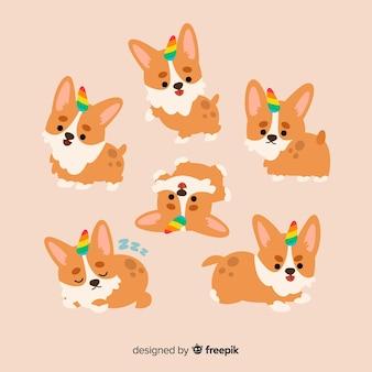 Collezione di personaggi di unicorno di cane kawaii