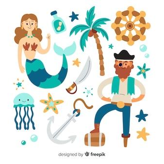 Collezione di personaggi di vita marina disegnata a mano