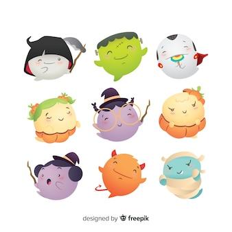 Collezione di personaggi disegnati a mano di facce di avatar