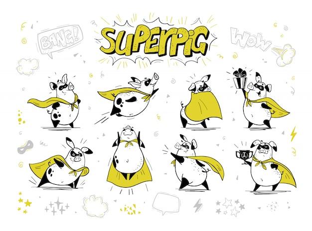 Collezione di personaggi disegnati a mano maiale super eroe