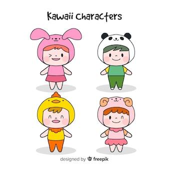 Collezione di personaggi divertenti disegnati a mano