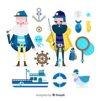 Collezione di personaggi ed elementi marini